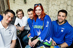 Ziga Pavlin of Slovenia, Ziga Jeglic of Slovenia, Sabahudin Kovacevic of Slovenia, Ziga Pance of Slovenia Slovenian Ice Hockey National Team at meeting with their supporters at day off during 2015 IIHF World Championship, on May 9, 2015 in Restaurant Zadni Vratka, Stodolni Street, Ostrava, Czech Republic. Photo by Vid Ponikvar / Sportida