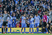 Brighton and Hove Albion striker Leonardo Ulloa (16) celebrates his goal with Brighton and Hove Albion midfielder Anthony Knockaert (11) during the The FA Cup match between Brighton and Hove Albion and Coventry City at the American Express Community Stadium, Brighton and Hove, England on 17 February 2018. Picture by Phil Duncan.