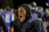 Sacramento Dragons Inoki Waqavesi (50), yells at his team during the third quarter as the Sacramento Dragons host the Folsom Bulldogs varsity football team at Hughes Stadium at Sacramento City College, Friday Sep 15, 2017.<br /> photo by Brian Baer