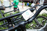 Bike tagged for valet service.