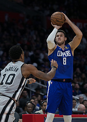 November 15, 2018 - Los Angeles, California, U.S - Danilo Gallinari #8 of the Los Angeles Clippers takes a jump shot during their NBA game with the San Antonio Spurs on Thursday November 15, 2018 at the Staples Center in Los Angeles, California. Clippers defeat Spurs, 116-111. (Credit Image: © Prensa Internacional via ZUMA Wire)