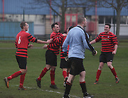 Fintry Athletic's Steven Murphy  (second left) is congratulated after making it 2-0 during his side's last 16 Scottish Cup clash with Medda Sports - Dundee Sunday Amateur Football<br /> <br />  - &copy; David Young - www.davidyoungphoto.co.uk - email: davidyoungphoto@gmail.com