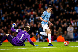 Phil Foden of Manchester City goes round Ralf Fahrmann of Schalke to score a goal - Mandatory by-line: Robbie Stephenson/JMP - 12/03/2019 - FOOTBALL - Etihad Stadium - Manchester, England - Manchester City v Schalke - UEFA Champions League, Round of 16, 2nd leg