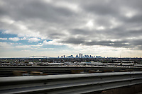 Skyline of New Orleans as seen from Interstate 10.