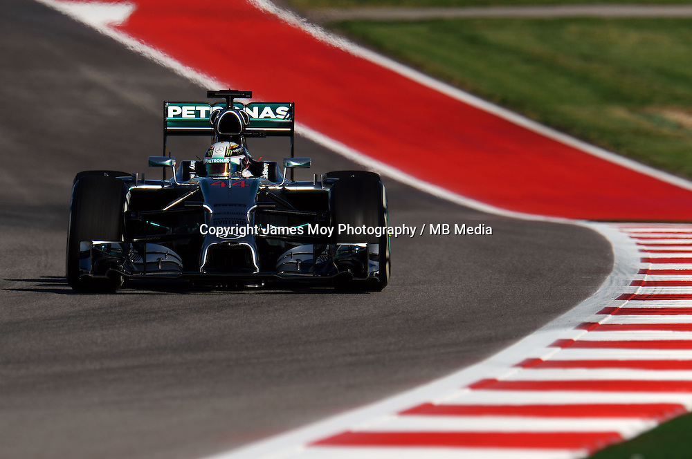 Lewis Hamilton (GBR) Mercedes AMG F1 W05.<br /> United States Grand Prix, Friday 31st October 2014. Circuit of the Americas, Austin, Texas, USA.
