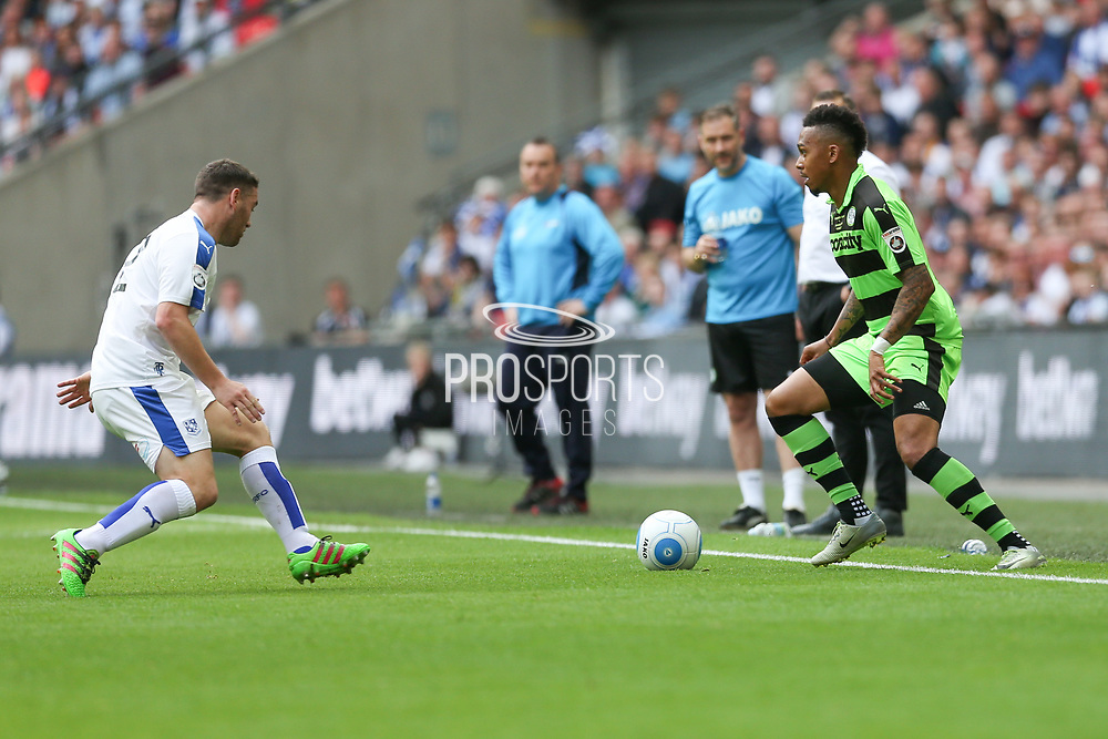 Forest Green Rovers Keanu Marsh-Brown(7) on the ball during the Vanarama National League Play Off Final match between Tranmere Rovers and Forest Green Rovers at Wembley Stadium, London, England on 14 May 2017. Photo by Shane Healey.