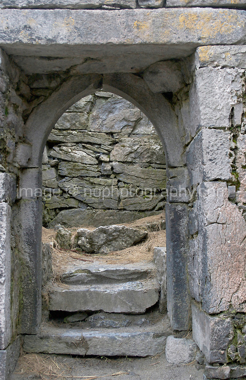 Interior of Teampall Chaomhan a 10-14th century church ruins on Inis Oirr the Aran Islands Galway Ireland