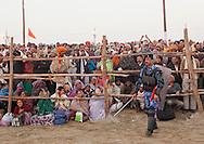 Police during Maha Kumbh Mela festival, world's largest congregation of religious pilgrims. Allahabad, India.