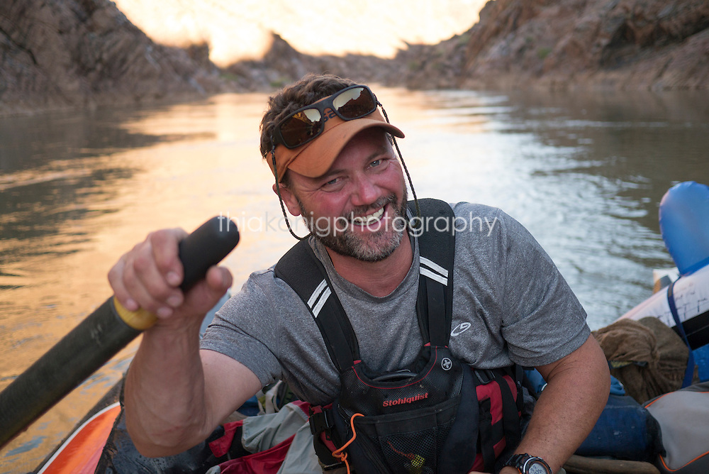 Portrait of boatman with beard, Colorado River, Grand Canyon, AZ