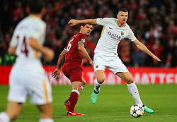 Edin Dzeko of Roma Dejan Lovren of Liverpool - Mandatory by-line: Matt McNulty/JMP - 24/04/2018 - FOOTBALL - Anfield - Liverpool, England - Liverpool v Roma - UEFA Champions League Semi Final, 1st Leg