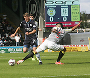 Dundee's Jim McAlister goes past St Mirren's Ellis Plummer - St Mirren v Dundee, SPFL Premiership at St Mirren Park<br /> <br />  - &copy; David Young - www.davidyoungphoto.co.uk - email: davidyoungphoto@gmail.com