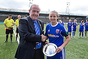 Forfar Farmington chairman Colin Brown presents a salver to Nicola Davidson to mark her 500th appearance for the club - Forfar Farmington v Spartans in the Scottish Womens Premier League at Station Park, Forfar. Photo: David Young<br /> <br />  - © David Young - www.davidyoungphoto.co.uk - email: davidyoungphoto@gmail.com