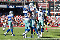 18 September 2011: The Dallas Cowboys Celebrate after a touchdown by (19) Miles Austin against the San Francisco 49ers during the second half of the Cowboys 27-24 overtime victory against the 49ers in an NFL football game at Candlestick Park in San Francisco, CA.