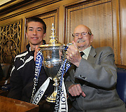 95 year old fan Willie Steele and 18 year old Dundee player Cammy Kerr (left) with the trophy - Dundee FC civic reception at Dundee City Chambers<br /> <br />  - &copy; David Young - www.davidyoungphoto.co.uk - email: davidyoungphoto@gmail.com
