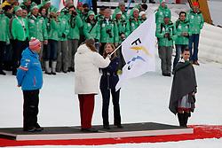 17.02.2013, Planai, Schladming, AUT, FIS Weltmeisterschaften Ski Alpin, Schlussfeier, im Bild Peter Schroecksnadel, OeSV, Gian-Franco Kasper, FIS, Cecilia Folz, Praesidentin Organisationskomitee WM 2015 in Vail // Peter Schroecksnadel, OeSV, Gian-Franco Kasper, FIS, Cecilia Folz, president of organisation comitee WM 2015 in Vail on Closing Ceremony at the FIS Ski World Championships 2013 at the Planai Course, Schladming, Austria on 2013/02/17. EXPA Pictures © 2013, PhotoCredit: EXPA/ Martin Huber