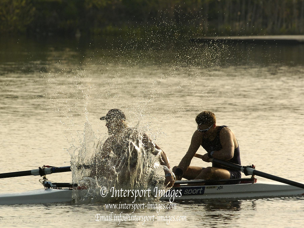 2005 GB Rowing Senior Trails, Hazenwinkel, BELGIUM; Tuesday 12.04.2005, A rather pleased to win,  Andy Hodge [left] celebrates with a bit of a splash, as he and Peter Reed, win the men's pair final on the second day of the GB Senior Trails..Photo  Peter Spurrier. .email images@intersport-images... GB Senior Rowing Trails, Rowing Course, Bloso, Hazewinkel. BELGUIM