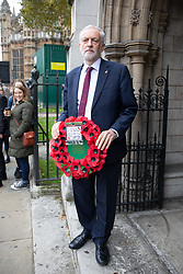 © Licensed to London News Pictures. 06/11/2018. London, UK. Leader of the Labour Party Jeremy Corbyn arrives for a Service at St Margaret's Church, Westminster to mark the Centenary of the end of the First World War. Parliamentarians from the House of Commons and House of Lords gathered to remember the sacrifices of those parliamentarians, parliamentary officers and staff who gave their lives during the First World War, or who were injured. Photo credit : Tom Nicholson/LNP