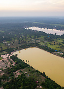 Aerial view of Sangat Nokor Thum at sunset, east of Angkor Wat, Siem Reap, Cambodia.