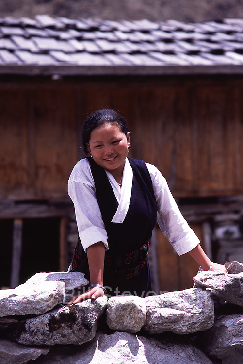 A Tibetan girl in Samagaon village in Nepal.
