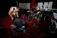 Craig Alexander (AUS) prepares in transition prior to the race start. 2012 Ironman Melbourne. Asia-Pacific Championship. 25/03/2012. Photo By Lucas Wroe.