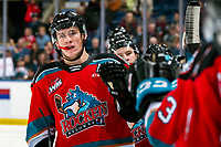 KELOWNA, BC - OCTOBER 16:  Nolan Foote #29 of the Kelowna Rockets celebrates a second period goal against the Swift Current Broncos at Prospera Place on October 16, 2019 in Kelowna, Canada. (Photo by Marissa Baecker/Shoot the Breeze)