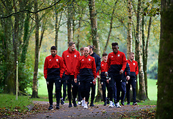 CARDIFF, WALES - Sunday, October 13, 2019: Wales' (L-R) Neil Taylor, goalkeeper Wayne Hennessey, Jonathan Williams, and Rabbi Matondo during a pre-match team walk at the Vale Resort ahead of the UEFA Euro 2020 Qualifying Group E match between Wales and Croatia. (Pic by David Rawcliffe/Propaganda)