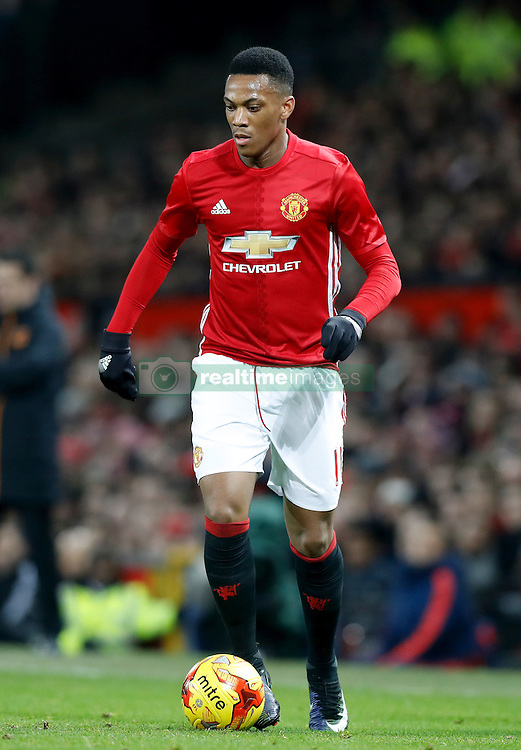 "Manchester United's Anthony Martial during the EFL Cup Semi Final, First Leg match at Old Trafford, Manchester. PRESS ASSOCIATION Photo. Picture date: Tuesday January 10, 2017. See PA story SOCCER Man Utd. Photo credit should read: Martin Rickett/PA Wire. RESTRICTIONS: EDITORIAL USE ONLY No use with unauthorised audio, video, data, fixture lists, club/league logos or ""live"" services. Online in-match use limited to 75 images, no video emulation. No use in betting, games or single club/league/player publications."