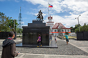 Statue of General Aguinaldo outside the Aguinaldo Shrine in Kawit, Cavite, the Philippines. Emilio Aguinaldo was the first president of the Philippines after its independence was declared in 1898. (photo by Andrew Aitchison / In pictures via Getty Images)