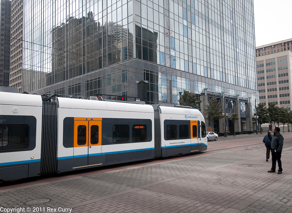 The KINKISHARYO ameriTram 300, a low-floor streetcar is demonstrated on Dart tracks in Dallas on March 8, 2011.
