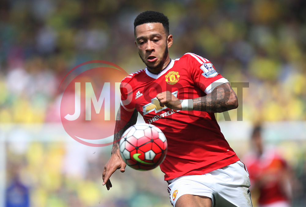 Memphis Depay of Manchester United in action - Mandatory by-line: Jack Phillips/JMP - 07/05/2016 - FOOTBALL - Carrow Road - Norwich, England - Norwich City v Manchester United - Barclays Premier League