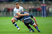Max Wright of Bath Rugby is tackled by James Johnstone of Edinburgh Rugby during the Rugby Friendly match between Edinburgh Rugby and Bath Rugby at Meggetland Sports Complex, Edinburgh, Scotland on 17 August 2018.
