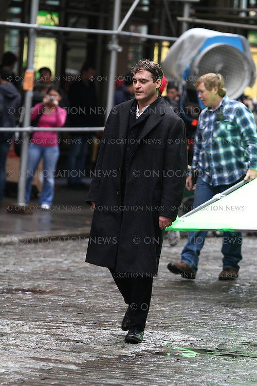 """Marion Cotillard and Joaquin Phoenix on the set of the James Gray directed movie """"Lowlife"""". New York City February 09th 2012 Non Exclusive. Photo Sales Contact: Eric Ford/ On Location News 1/818-613-3955 info@onlocationnews.com"""