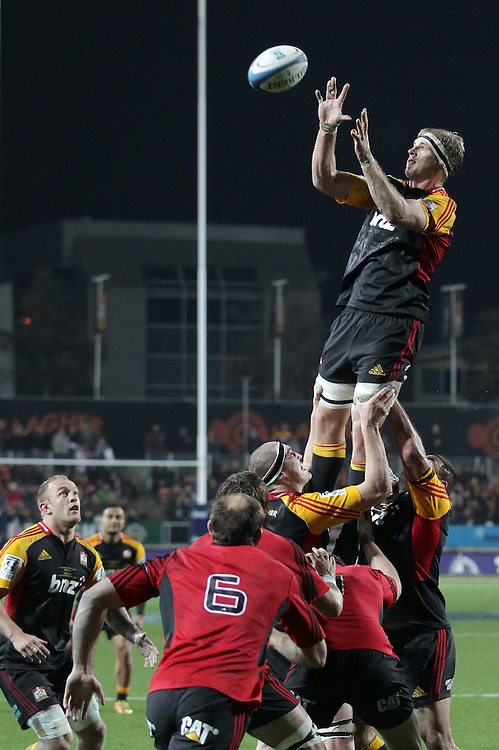 Chiefs' captain Craig Clarke wins a lineout against the Crusaders in a Super Rugby semi final match, Waikato Stadium, Hamilton, New Zealand, Saturday, July 27, 2013.  Credit:SNPA / David Rowland