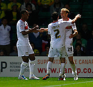 Luke Chadwick scores his sides 3rd goal and celebrates during the Carling Cup 2nd Round match at Carrow Road Stadium, Norwich, Norfolk...Picture by Paul Chesterton/Focus Images Ltd.  07904 640267.23/8/11