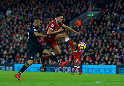 LIVERPOOL, ENGLAND - Boxing Day, Tuesday, December 26, 2017: Liverpool's Trent Alexander-Arnold scores the third goal during the FA Premier League match between Liverpool and Swansea City at Anfield. (Pic by David Rawcliffe/Propaganda)