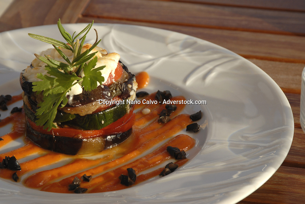 French cuisine dish, made with aubergines and vegetables. Soleado restaurant, Ibiza, Spain