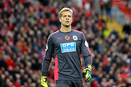 Huddersfield Town Goalkeeper Jonas Lossl looks on. Premier League match, Liverpool v Huddersfield Town at the Anfield stadium in Liverpool, Merseyside on Saturday 28th October 2017.<br /> pic by Chris Stading, Andrew Orchard sports photography.