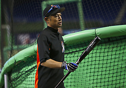 April 10, 2017 - Miami, FL, USA - Miami Marlins outfielder Ichiro Suzuki during batting practice before the start of the home opener, against the Atlanta Braves, at Marlins Park in Miami on Tuesday, April 11, 2017. (Credit Image: © David Santiago/TNS via ZUMA Wire)