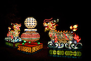 Night photo by Leandra Lewis Missouri Botanical Gardens Chinese Lantern Festival Recycled Glass Medicine Bottle Dragons Sculptures.