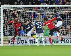 Cardiff City Midfielder, Kim Bo-Kyung (KOR) scores a dramatic equaliser  - Photo mandatory by-line: Joseph Meredith/JMP - Tel: Mobile: 07966 386802 - 24/11/2013 - SPORT - FOOTBALL - Cardiff City Stadium - Cardiff City v Manchester United - Barclays Premier League.