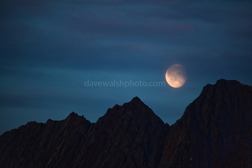 """Moon rising over mountains in Nugatsiaq, Baffin Bay, Greenland This mage can be licensed via Millennium Images. Contact me for more details, or email mail@milim.com For prints, contact me, or click """"add to cart"""" to some standard print options."""