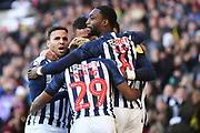 The West Bromwich Albion players  celebrate with goalscorer West Bromwich Albion defender Semi Ajayi (6) 1-0 during the EFL Sky Bet Championship match between West Bromwich Albion and Swansea City at The Hawthorns, West Bromwich, England on 8 December 2019.