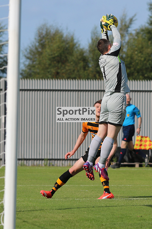 Mark Brown Dumbarton Goal keeper picks the ball out the air   during the Dumbarton FC v Alloa FC Scottish Championship 5th September 2015 <br /> <br /> (c) Andy Scott | SportPix.org.uk