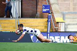 Toby Venner of Bristol Bears scores a try against Wasps - Mandatory byline: Patrick Khachfe/JMP - 07966 386802 - 14/09/2019 - RUGBY UNION - Franklin's Gardens - Northampton, England - Premiership Rugby 7s (Day 2)