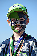 Feb 1, 2015; Glendale, AZ, USA; Seattle Seahawks fan Hunter Scott poses for a photo before Super Bowl XLIX against the New England Patriots at University of Phoenix Stadium. The Patriots defeated the Seahawks 28-24.
