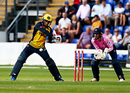 Billy Root of Glamorgan hits a boundary of the bowling of <br /> Nathan Sowter of Middlesex<br /> <br /> Photographer Simon King/Replay Images<br /> <br /> Vitality Blast T20 - Round 4 - Glamorgan v Middlesex - Friday 26th July 2019 - Sophia Gardens - Cardiff<br /> <br /> World Copyright © Replay Images . All rights reserved. info@replayimages.co.uk - http://replayimages.co.uk