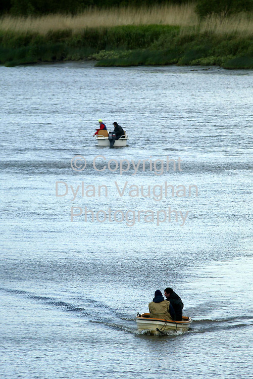 24/5/2002 Irish Examiner.The scene yesterday as boats search the river at Fiddown for a mans body..Picture Dylan Vaughan