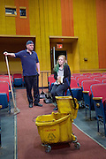 The Flick <br /> by Annie Baker <br /> at the Dorfman Theatre, National Theatre, Southbank, London, Great Britain <br /> 18th April 2016 <br /> <br /> Louise Krause as Rose<br /> <br /> Matthew Maher as Sam<br /> <br /> <br /> Photograph by Elliott Franks <br /> Image licensed to Elliott Franks Photography Services
