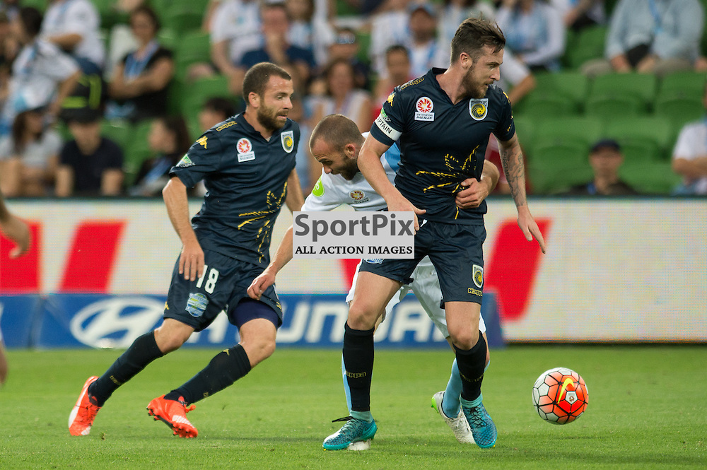 Glen Trifiro of Central Coast Mariners, Jason Trifiro of Melbourne City, Roy O'Donovan of Central Coast Mariners - Hyundai A-League,  25th October 2015, RD 3, Melbourne City FC v Central Coast Mariners with a win to City 3:1 © Mark Avellino | SportPix.org.uk