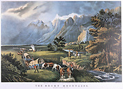 The Rocky Mountains. Emigrants in covered wagons crossing the Plains watched by Native Americans.  Lithograph by Currier and Ives, New York, c1870.